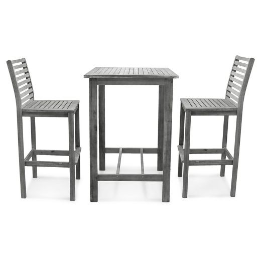 Vifah Renaissance Wood 3pc Bar Set - Gray