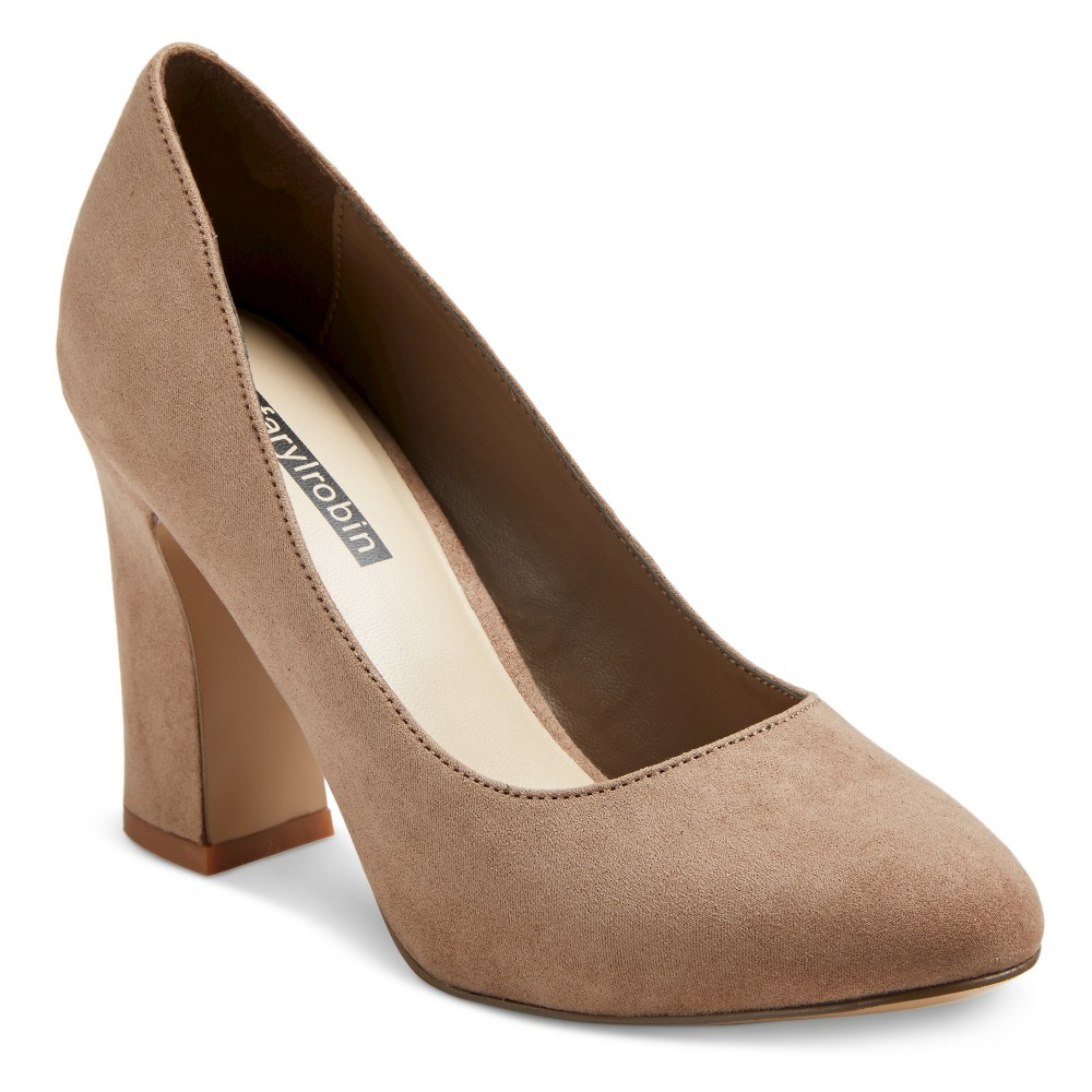 Womens Faryl by Farylrobin Stella Block Heel Almond Toe Pumps - Taupe 6, Taupe Brown