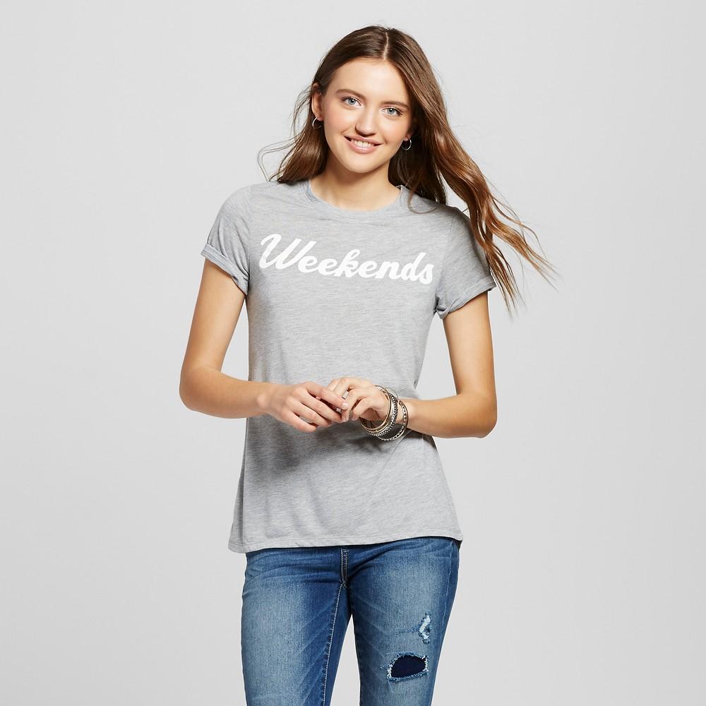 Womens Weekends Graphic T-Shirt Gray XS - Zoe+Liv (Juniors)