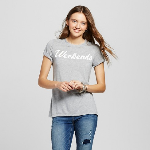 Women's Weekends Graphic T-Shirt Gray - Zoe+Liv (Juniors') - image 1 of 2