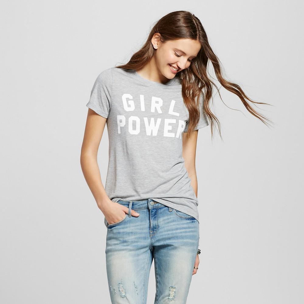 Womens Girl Power Graphic T-Shirt Gray XS - Zoe+Liv (Juniors)