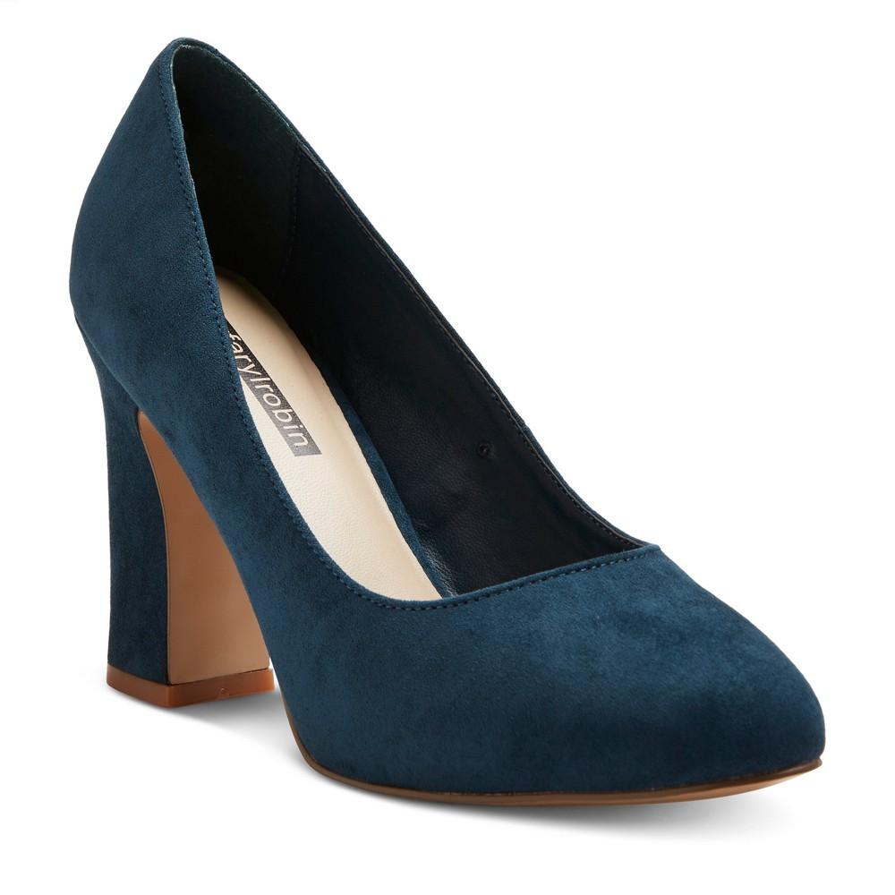 Womens Faryl by Farylrobin Stella Wide Width Block Heel Almond Toe Pumps - Teal (Blue) 6W, Size: 6 Wide