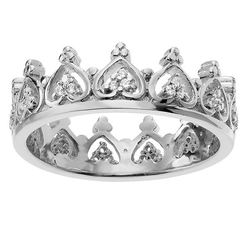 3/8 CT. T.W. Round-cut Cubic Zirconia Crown Accent Pave Set Ring in Sterling Silver - Silver - image 1 of 2