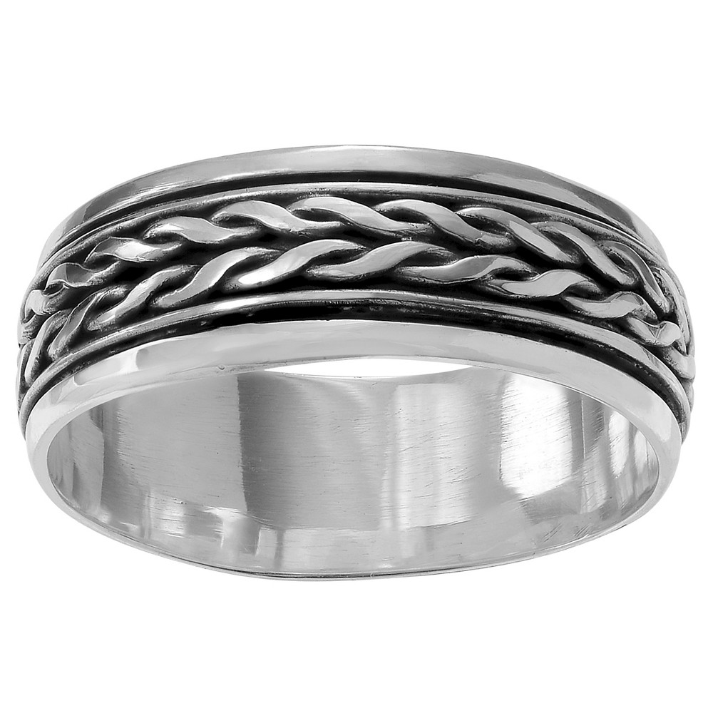 Unisex Journee Collection Spinner Braid Band in Sterling Silver - Silver, 6