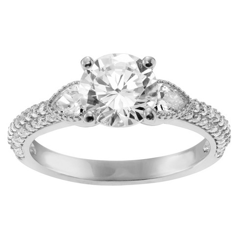5/8 CT. T.W. Round-cut Cubic Zirconia Engagement Prong Set Ring in Sterling Silver - Silver - image 1 of 2