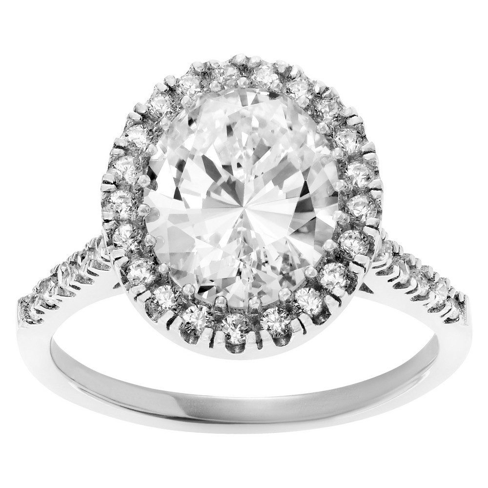 2 4/5 CT. T.W. Oval-cut Cubic Zirconia Halo Prong Set Ring in Sterling Silver - Silver, 5, Womens