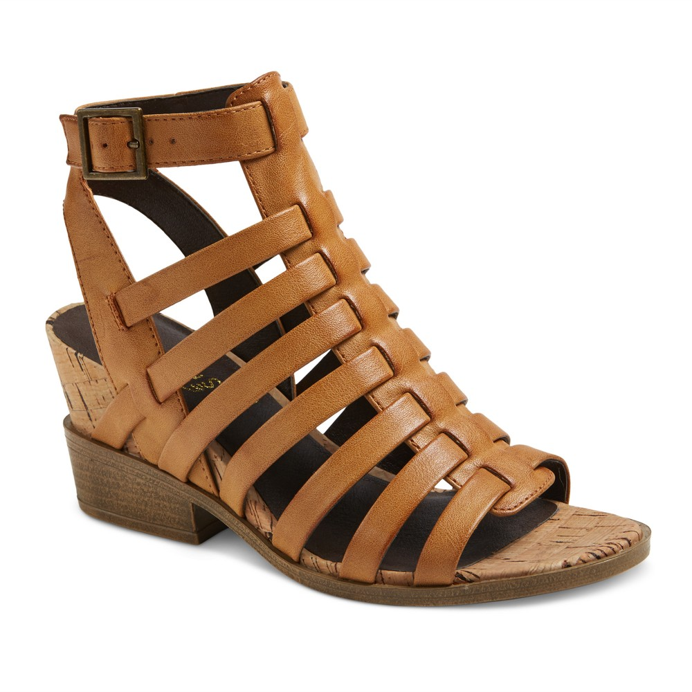 Womens Mountain Sole Sable Cork Wedge Strap Sandals - Tan 9