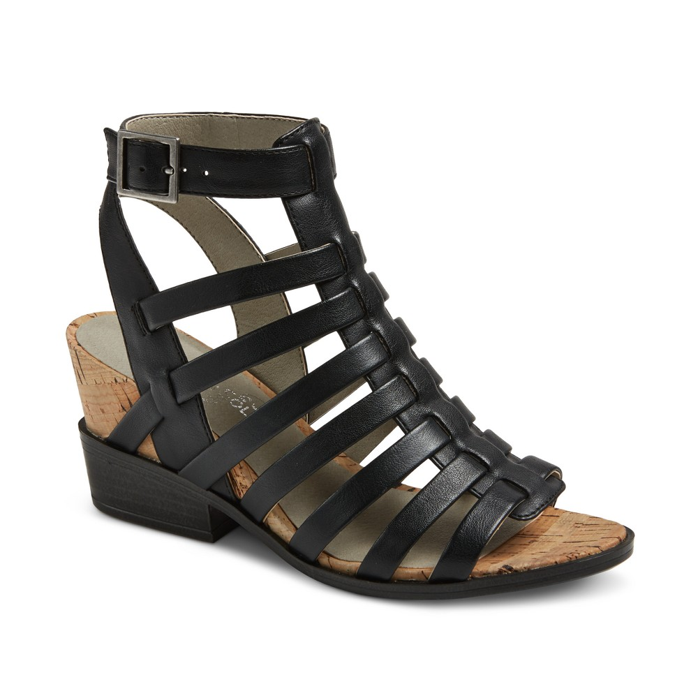 Womens Mountain Sole Sable Cork Wedge Strap Sandals - Black 9.5