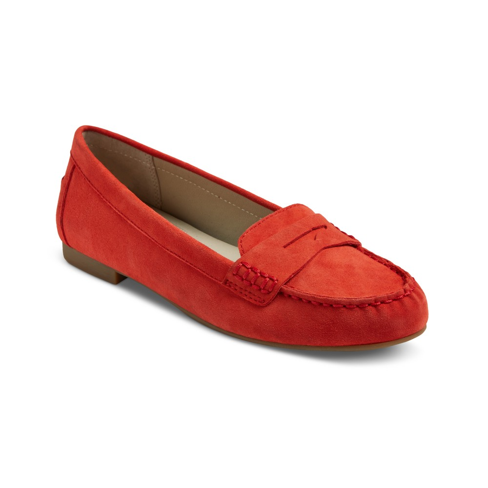 Womens Mountain Sole Matilda Suede Moccasins - Red 6.5