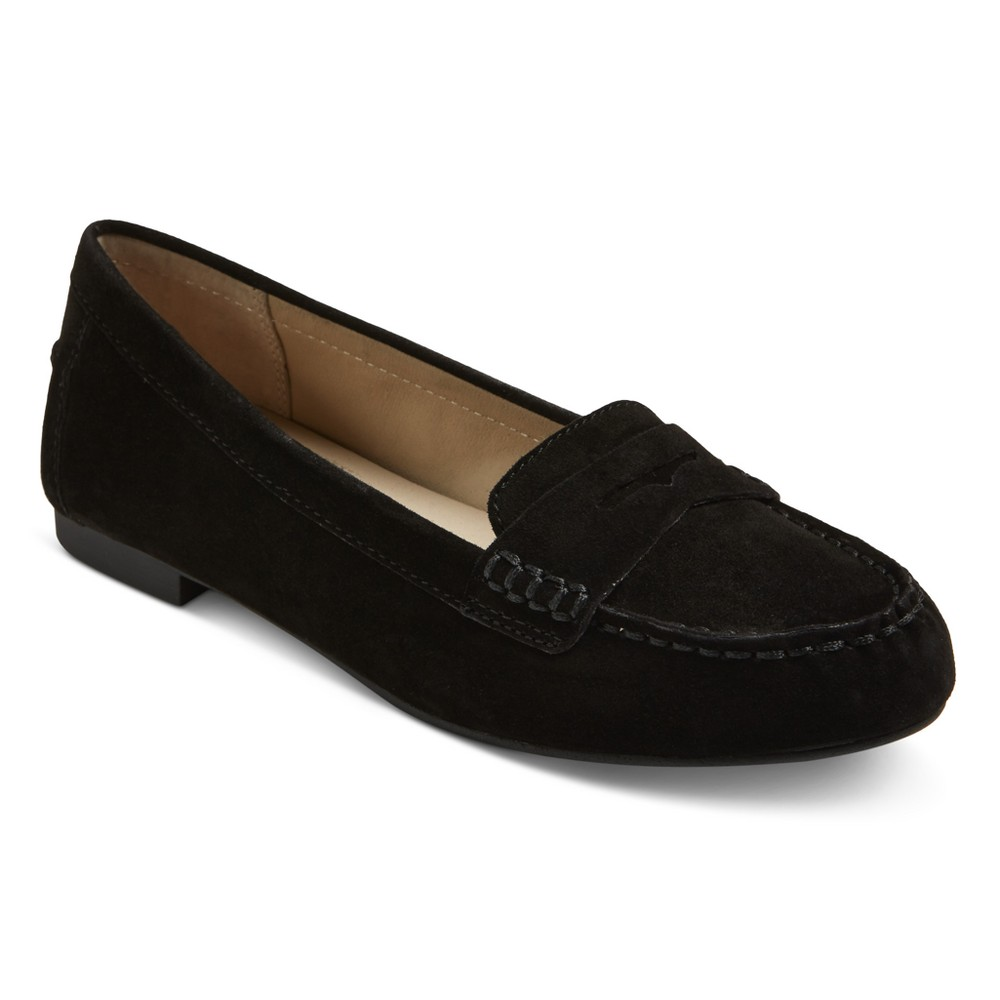 Womens Mountain Sole Matilda Suede Moccasins - Black 7.5