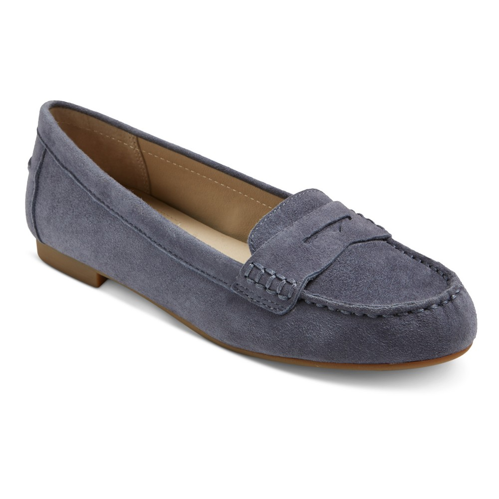 Womens Mountain Sole Matilda Suede Moccasins - Blue 7.5