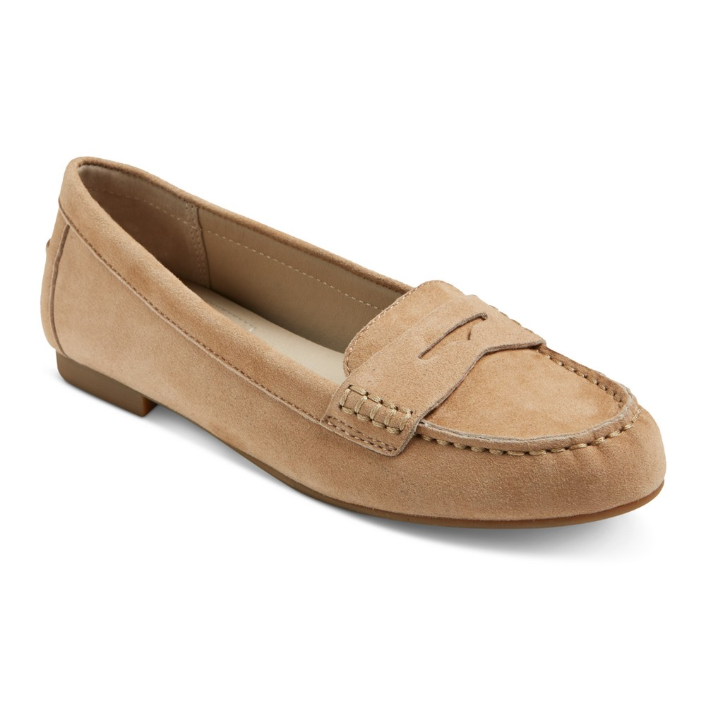 Womens Mountain Sole Matilda Suede Moccasins - Saddle 9