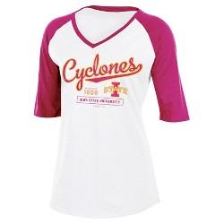 NCAA Iowa State Cyclones Women's Fashion V-Neck Raglan T-Shirt
