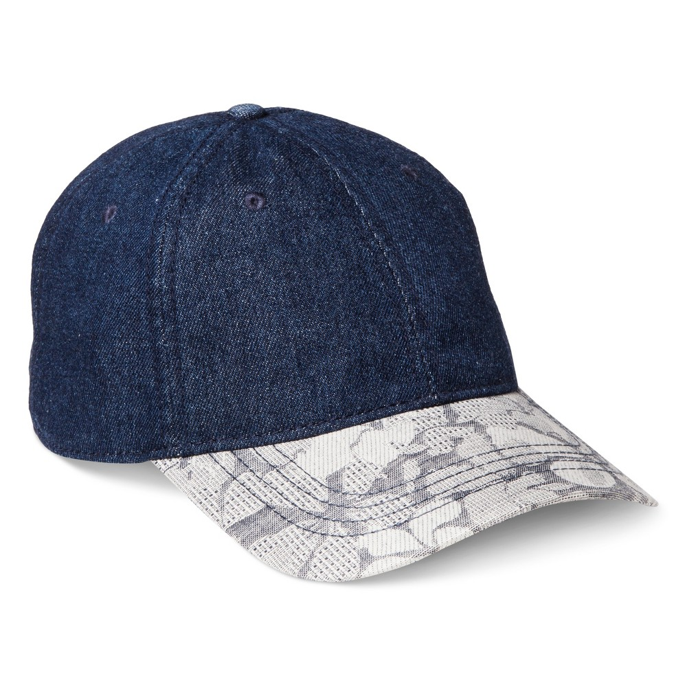 Mens Baseball Hat With Mix Pattern - Denim One Size, Denim Blue