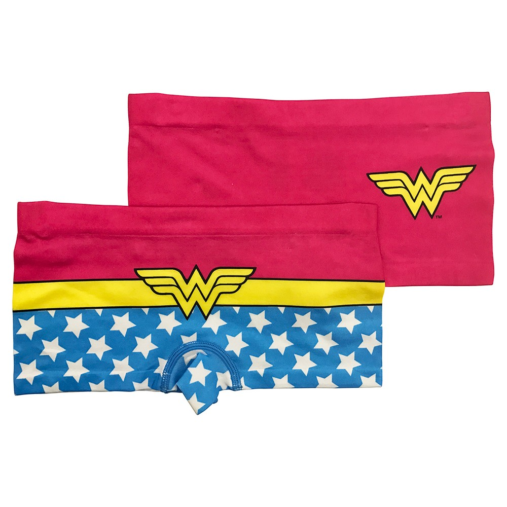 Girls Wonder Woman Boy Shorts - S, Multicolored