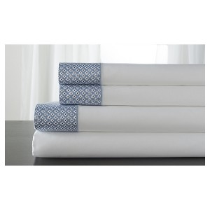 Adara 100% Cotton Printed Hem Sheet Set (Full) Blue