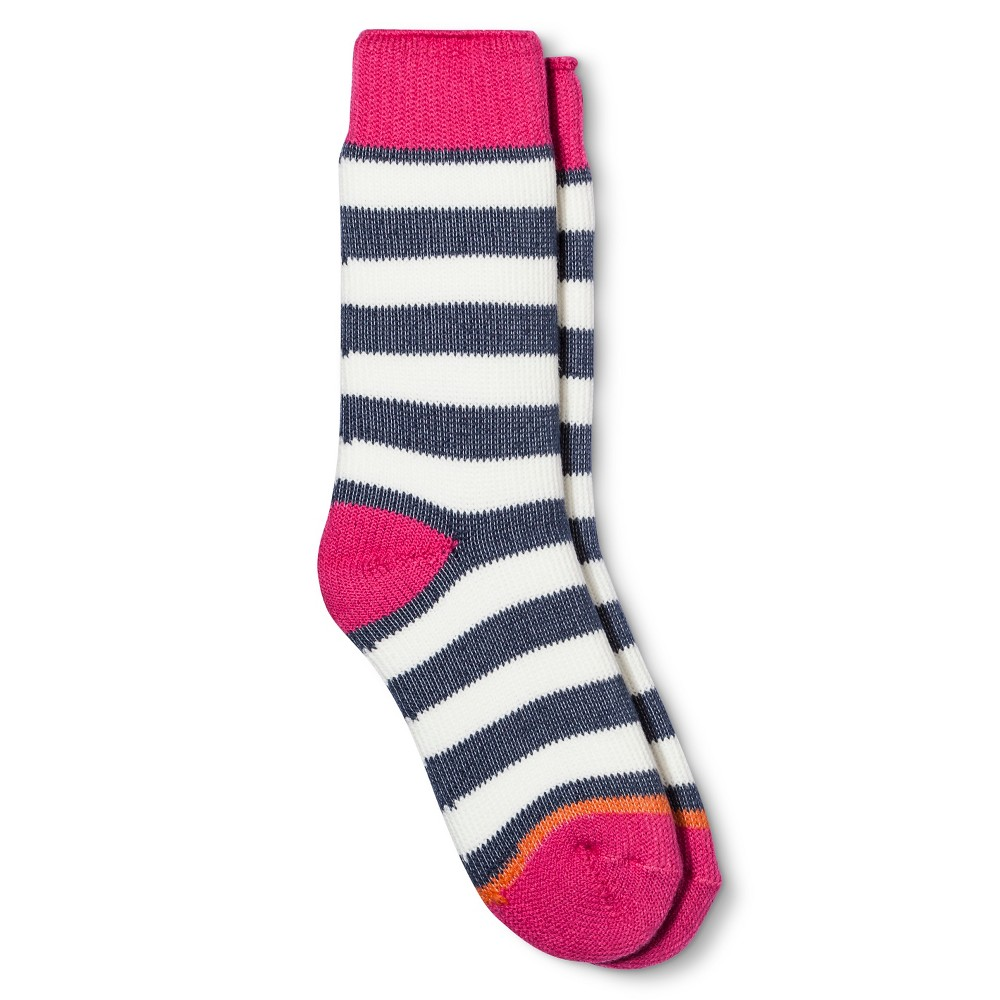 Weatherproof Womens Striped Thermal Crew Socks - Bright Pink/Off White/Light Blue 9-11, Light Off White