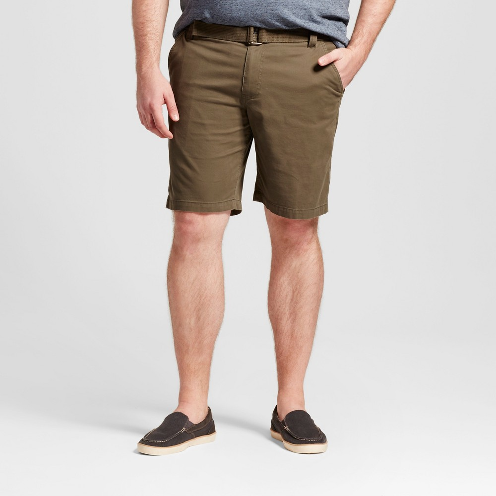 Mens Big & Tall Belted Flat Front Chino Shorts - Mossimo Supply Co. Olive (Green) 54