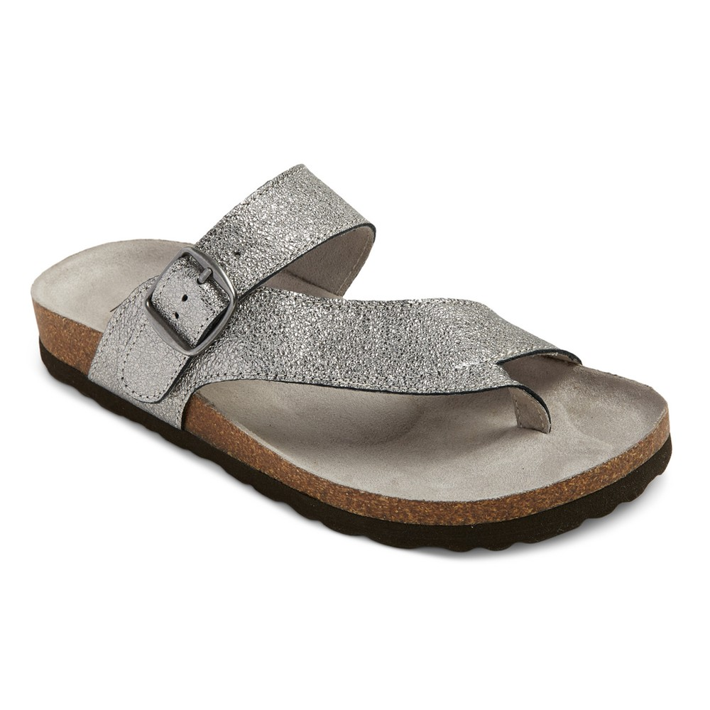 Womens Mountain Sole Cozumel Toe Thong Footbed Sandals - Silver 7