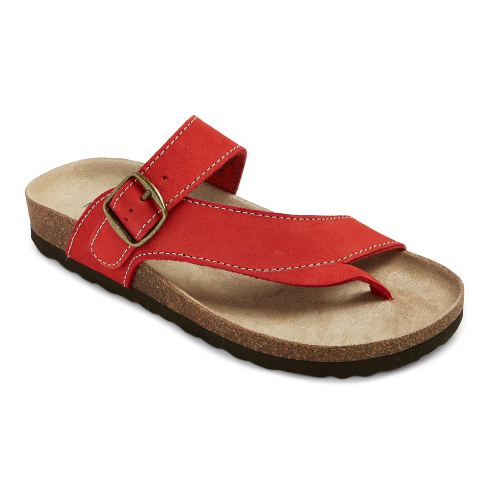 Womens Mountain Sole Cozumel Toe Thong Footbed Sandals - Red 6