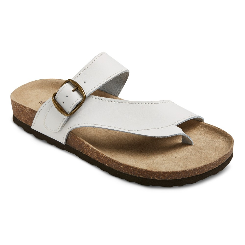 Womens Mountain Sole Cozumel Toe Thong Footbed Sandals - White 6