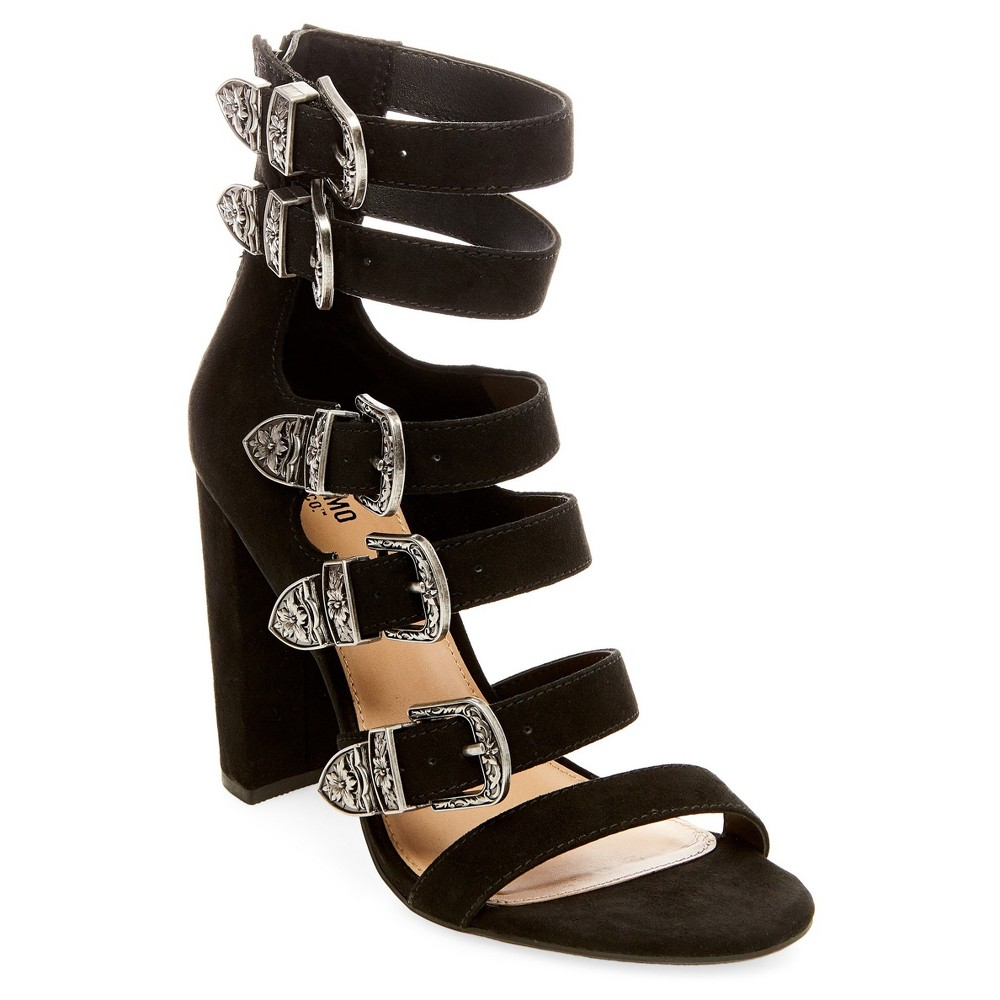 Womens Western Multiple Buckle Quarter Strap Sandals - Mossimo Supply Co. Black 8.5