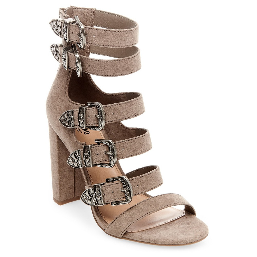 Womens Western Multiple Buckle Quarter Strap Sandals - Mossimo Supply Co. Taupe Gray 9.5