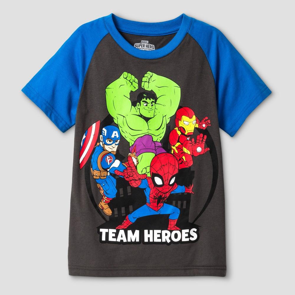 Toddler Boys Marvel Team Heroes Short Sleeve T-Shirt - Dark Gray 2T