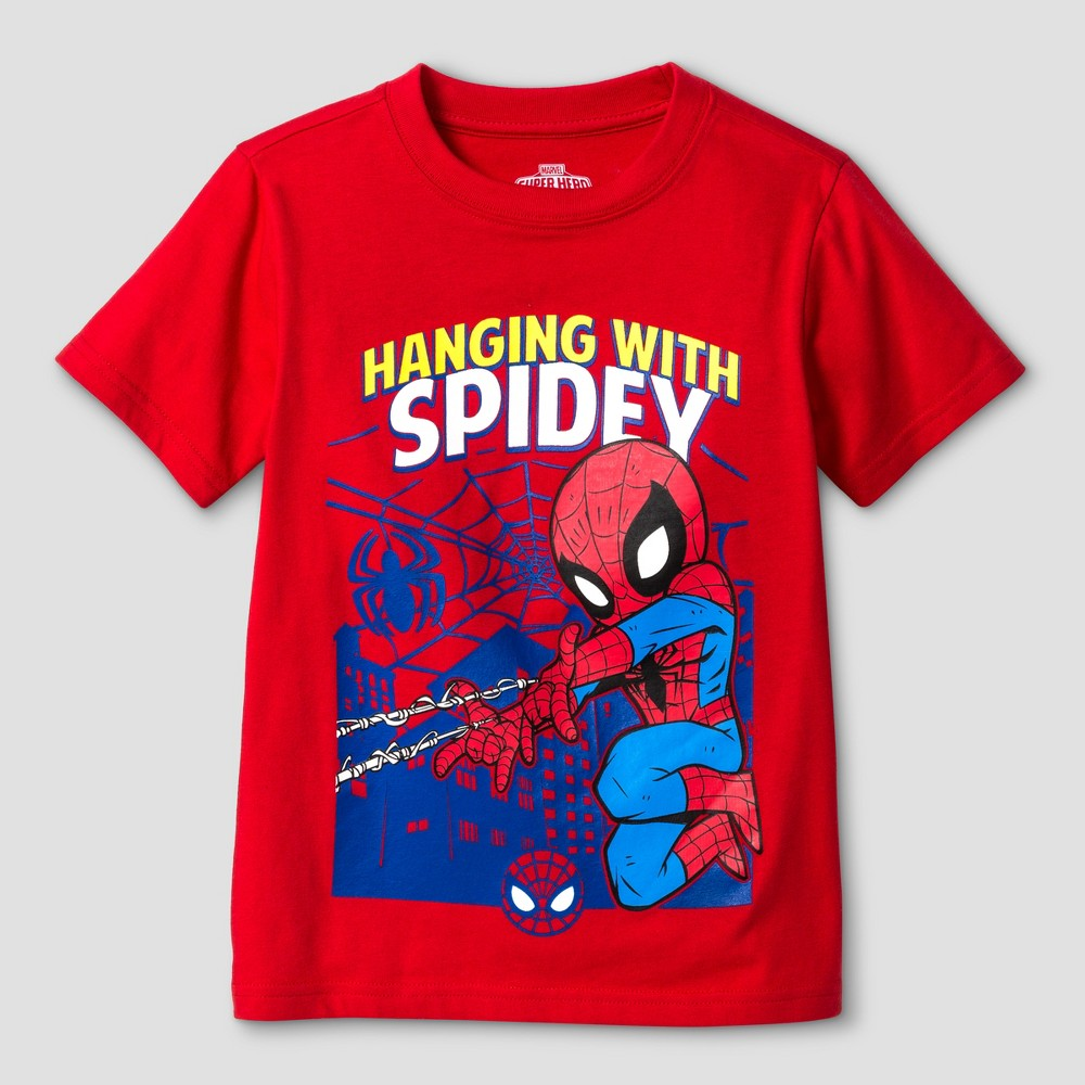 Toddler Boys' Spider-Man Hanging Spidey Short Sleeve T-Shirt - Red 5T