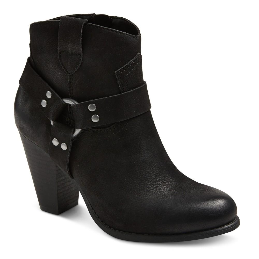 Womens Genuine 1976 Phoenix Leather Harness Heeled Booties - Black 10