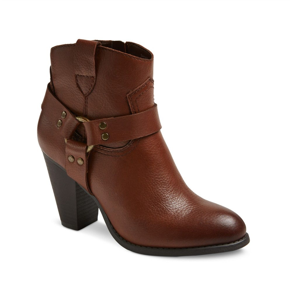 Womens Genuine 1976 Phoenix Leather Harness Heeled Booties - Cognac (Red) 7