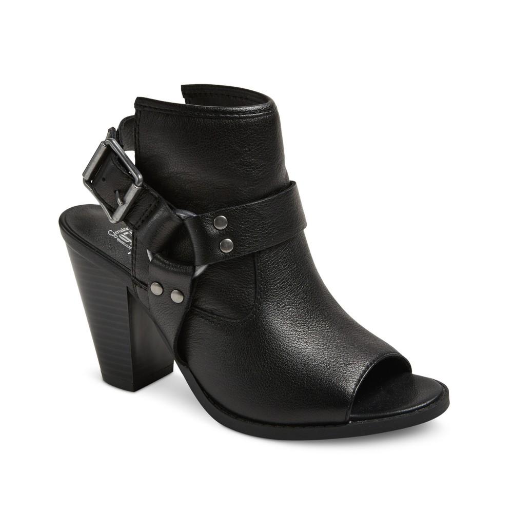 Womens Genuine 1976 Logan Leather Harness Open Toe Mules - Black 10
