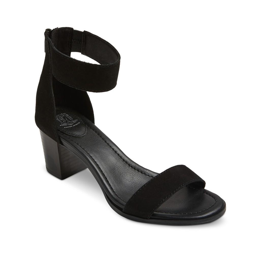 Womens Genuine 1976 Cheyenne Quarter Strap Leather Block Heel Sandals - Black 7.5