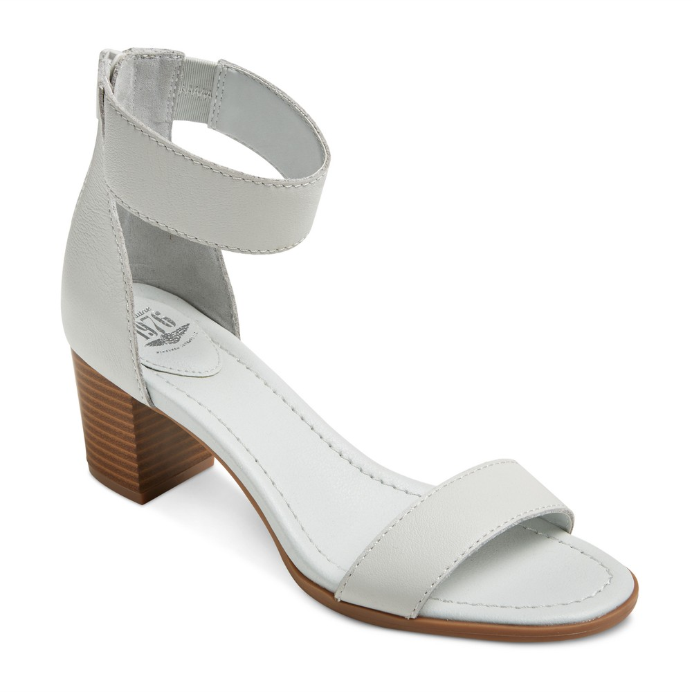 Womens Genuine 1976 Cheyenne Quarter Strap Leather Block Heel Sandals - White 9