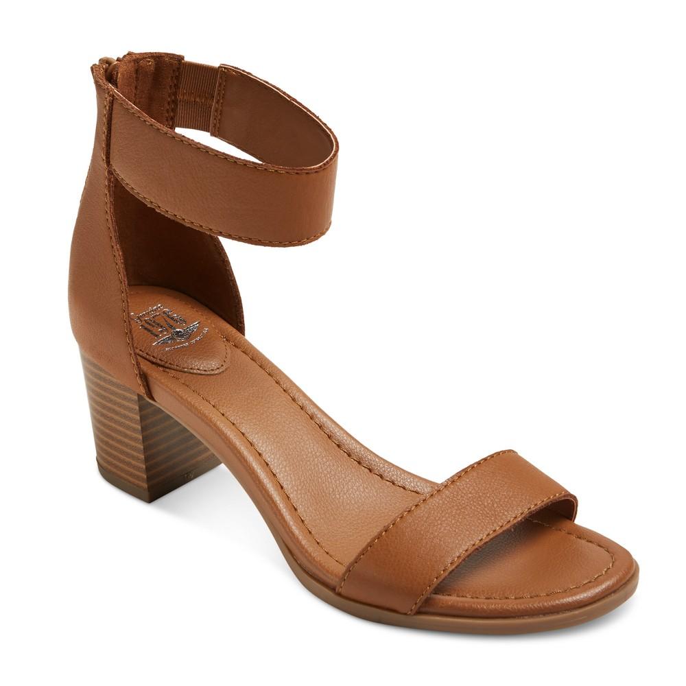 Womens Genuine 1976 Cheyenne Quarter Strap Leather Block Heel Sandals - Cognac (Red) 7