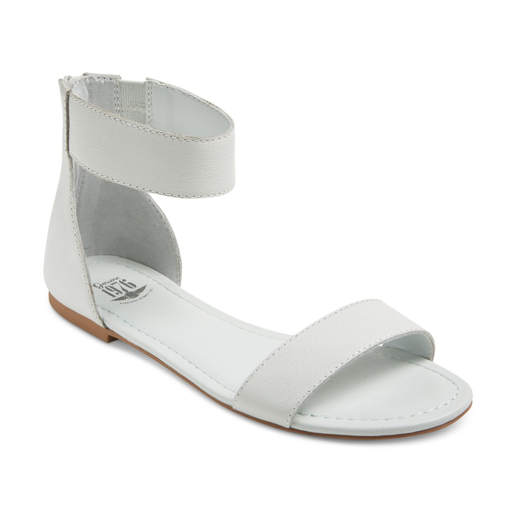 Womens Genuine 1976 Campbell Quarter Strap Leather Flat Sandals - White 6.5