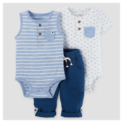 Baby Boys' 3pc Bodysuit and Pants Set - Just One You™ Made by Carter's Blue 3M