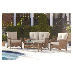 Lakewood Ranch 4 Piece Steel Woven Wicker Outdoor Patio Furniture Set with Cushions and Coffee Table - Brown - Cosco
