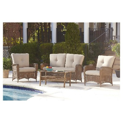 Lakewood Ranch 4 Piece Steel Woven Wicker Outdoor Patio Furniture Set With  Cushions And Coffee Table