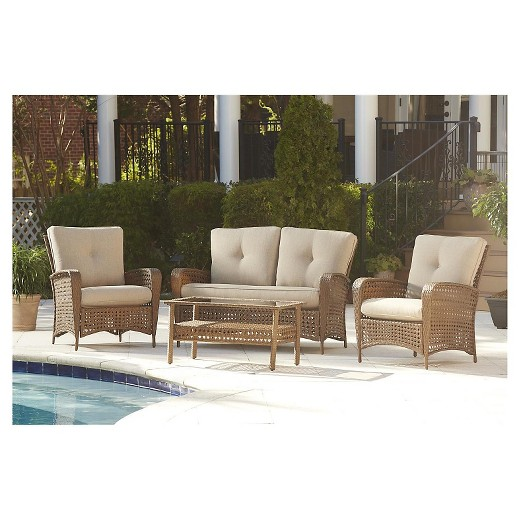 Lakewood Ranch 4 Piece Steel Woven Wicker Outdoor Patio Furniture