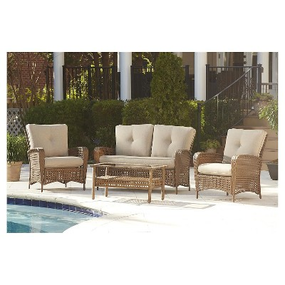 Lakewood Ranch 4 Piece Steel Woven Wicker Outdoor Patio Furniture Set With  Cushions And Coffee Table   Brown   Cosco