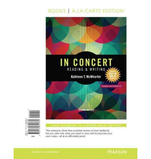 In Concert : Reading and Writing, 2016 MLA Updates (Paperback) (Kathleen T. McWhorter) - image 1 of 1
