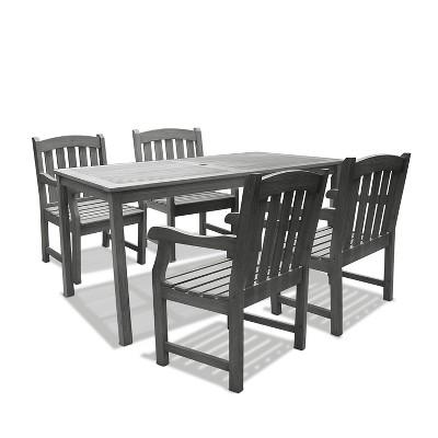 Vifah Renaissance Rectangular Table & Arm Chair Outdoor Hand-scraped 5pc Dining Set - Gray