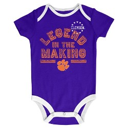 NCAA Clemson Tigers Boys' Baby 3pk Bodysuits