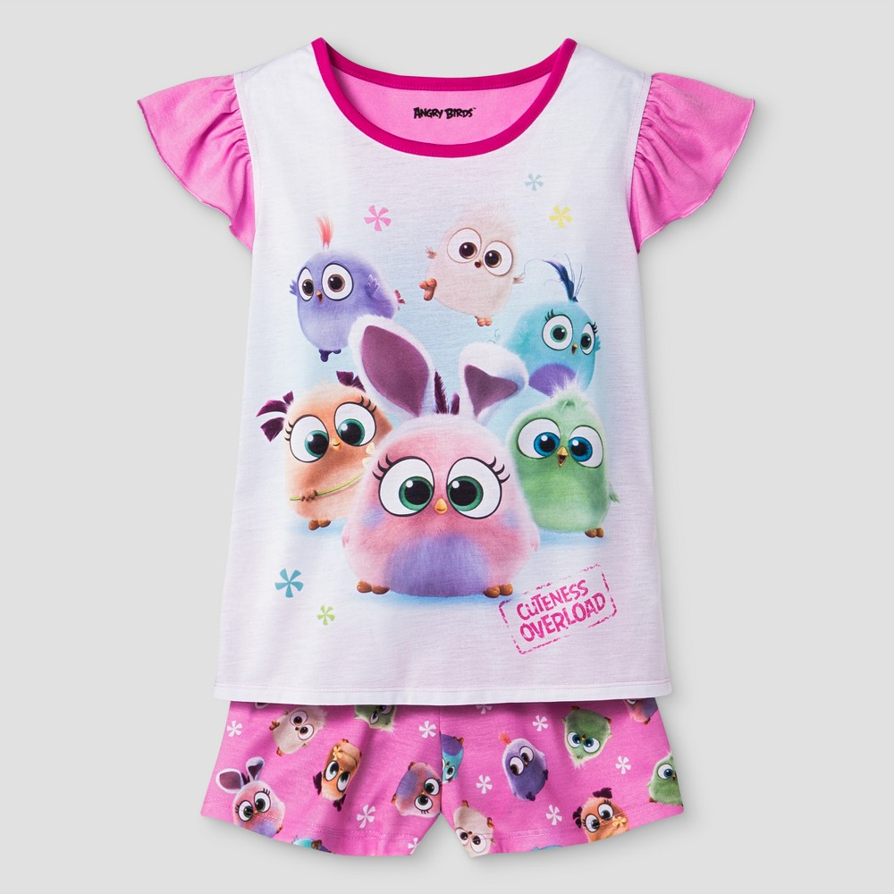 Girls Angry Birds Pajama Set - Pink XS