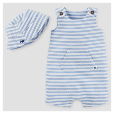 Baby Boys' Striped Romper and Hat Set - Just One You™ Made by Carter's® Blue/White 3M