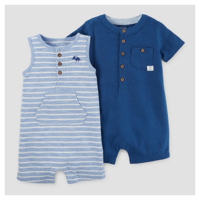 Baby Boys' 2pk Pocket Romper - Just One You™ Made by Carter's® Blue 12M