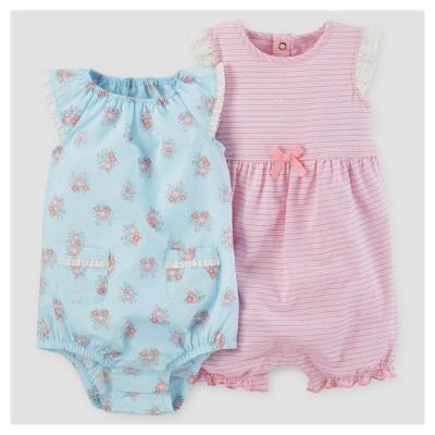 Baby Girls' 2pk Frilly Romper - Just One You™ Made by Carter's® Pink/Blue 6M