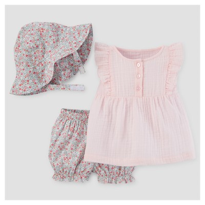 Baby Girls' 3pc Top and Bloomer & Hat Set - Just One You™ Made by Carter's® Pink 18M