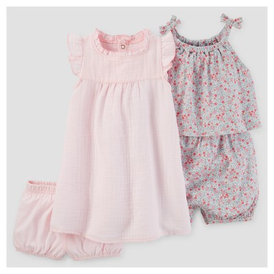 Baby Girls' 2pk Dress and Floral Romper - Just One You™ Made by Carter's® Pink 9M